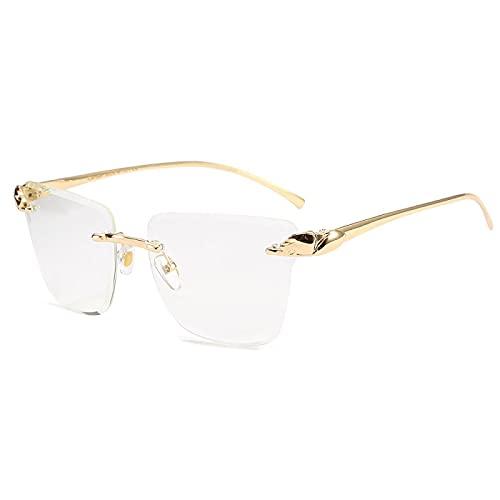 ShZyywrl Gafas De Sol De Moda Unisex Gafas De Sol Leoaprd Cuadradas Sin Montura De Corte A La Moda para Hombre, Gafas De Sol De Hip Hop De Aleación Vintage Par