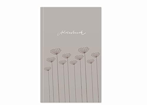 Adressbuch & Geburtstagskalender, kleines handliches Notizbuch, mit Register zum Ausschneiden, Softcover, liniert, 11,5x18 cm, 120 g Recyclingpapier, CO2 neutral, beige mit Blumen