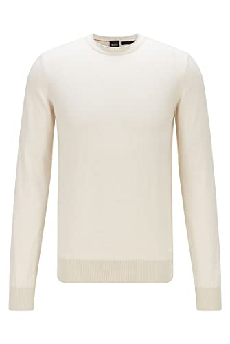 BOSS Herren Komibo Slim-Fit Pullover aus Baumwolle mit gerolltem Ausschnitt