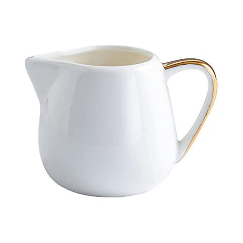 hkwshop Salsera térmica Barco de Salsa Blanca con Bordes Pintados de Oro, artesanía cerámica, Olla de Crema con Boca en Forma de V, Jarra de Crema de café Juego de Salsas (Size : Medium)