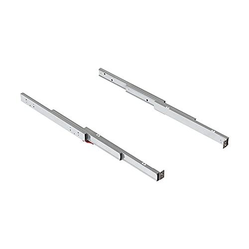 EMUCA - Guías ATIM para Mesa Extensible Mueble Cocina, Mesa Extraible Oculta, L490mm, Aluminio Anodizado INOX