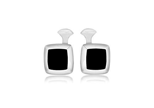 Tuscany Silver - Boutons de Manchette Homme - Argent 925/1000 Onyx