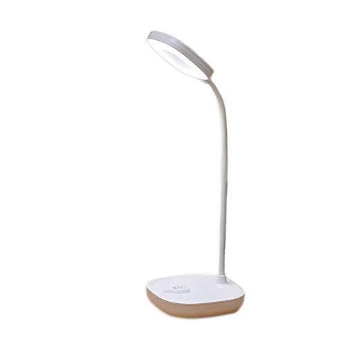 Lámpara de escritorio con sensor táctil de 360 °, regulable, con cuello de cisne a pilas, LED, protección para los ojos, aprendizaje y lectura, carga USB