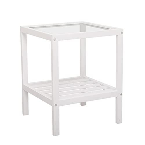 FICYEFIYC Mesita auxiliar de madera, mesa auxiliar de vidrio templado con estante mesa de noche...