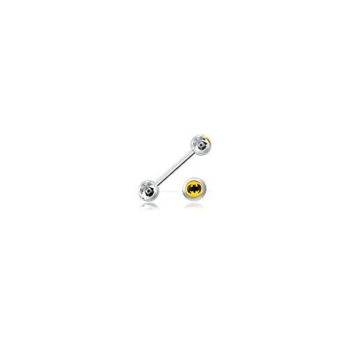Zunge Barbell Stahl Kugel Logo Batman–Armreif/Schaft 1.6mm, Länge INT. 14mm, Kugel 6mm
