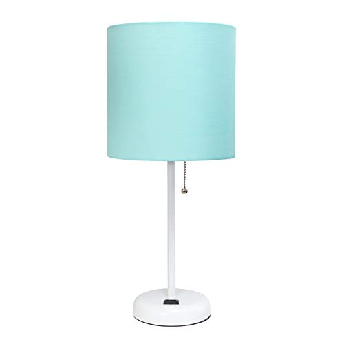 LimeLights White Stick Lamp with Outlet and Fabric Shade