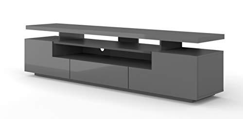 TV LOWBOARD Schrank Eva 195 cm Hochglanz TV Tisch Sideboard TV Schrank Solo, Unterschrank mit LED, Fernsehschrank, TV Board, Sideboard RTV, HiFi-Tisch, LED Beleuchtung (Graphit ohne LED Beleuchtung)