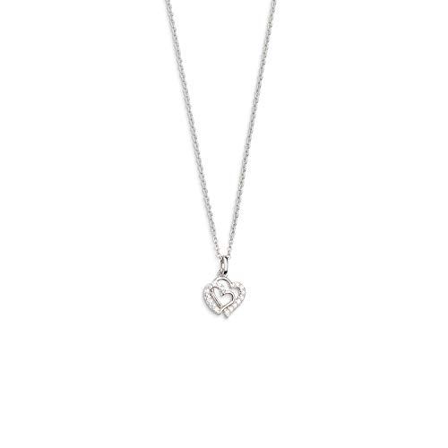 Xenox Damen-Halskette mit Herzanhänger 925er Sterlingsilber mit Zirkonia 45 cm (Silber, 925er Sterlingsilber)