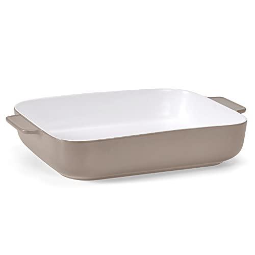 DANMERS Baking Dish Porcelain Deep Bakeware Set 11.8 x 9 inch Cookware for Roasting Lasagna Dessert Cake Pan,Gray