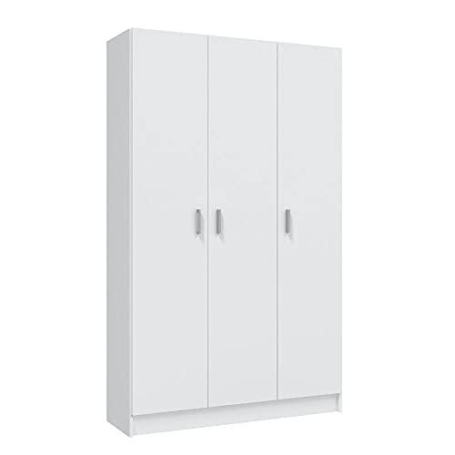 Mobelcenter - Armario Multiusos 3 Puertas - Armario Auxiliar con Escobero - Acabado Color Blanco - Medidas: Ancho: 109 cm x Fondo: 37 cm x Alto: 180 cm - (1232)