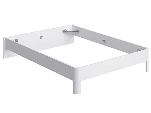 Marca Amazon -Movian Indre Modern - Base para cama de matrimonio con cabecero bajo, 194,5 x 144,5 x 31,7 cm (blanco)