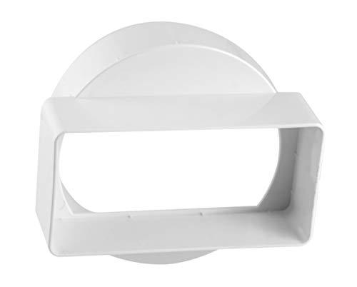 Übergangsstück , Ø 100 mm für 55 x 110 Flachkanal Lüftungssysteme. Abluftkanal oder Zuluftkanal. Hohe Qualität ABS-Kunststoff (FS55-CL100)