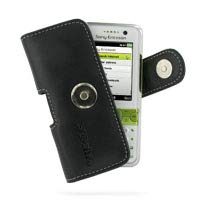 PDair Handarbeit Leder Hülle - Leather Horizontal Pouch Case with Belt Clip for Sony Ericsson K660i (Black)