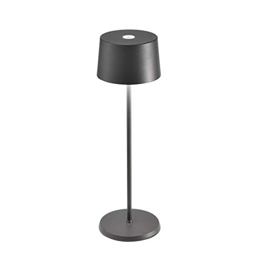 Zafferano Olivia Dimmbare LED-Tischlampe, IP65-Schutz, für Innen-/ Außenbereich, Micro-USB-Ladegerät, Höhe 35,5 cm, EU-Stecker-Dunkel Grau