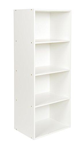 ts-ideen Standregal Bücherregal Aufbewahrung MDF Weiss 4 Fächer CD-Regal 106 x 41,5 cm