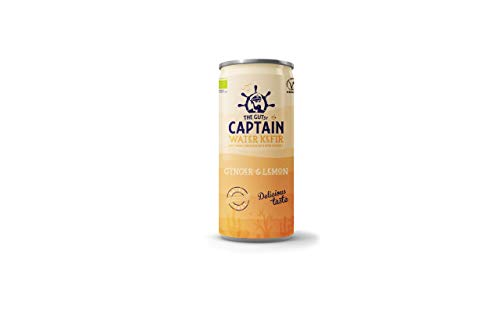Gutsy Captain Water Kefir - Live Cultured Drink with Kefir Cultures - Dairy Free, Low Calorie - 12 x 250ml Cans (Ginger Lemon)