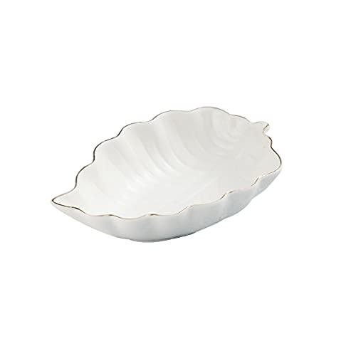 Cuencos Platos Aperitivos Salsas Platos de salsa de inmersión de cerámica Forma de la hoja Condimento Platos platos platillos Bowls Placa de aperitivo para el condimento y merienda (5.12 pulgadas) Pla
