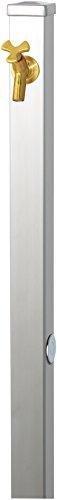 ユニソン(UNISON) 立水栓 スプレスタンド60 左右仕様 ステンレスシルバー 蛇口1個セット ゴールド 600531110 幅6.4×高さ80(110)×奥行6.4cm 取扱説明書、プレーンフォーセット フラワー(泡沫・ホース用アダプター付)、止水プ