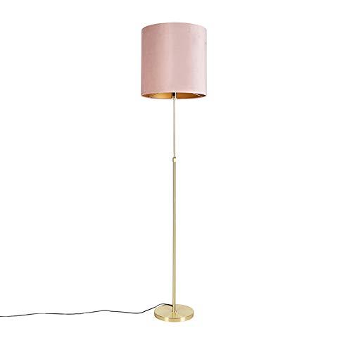 QAZQA Landhaus/Vintage/Rustikal Stehleuchte/Stehlampe/Standleuchte/Lampe/Leuchte Gold/Messing/messing mit Veloursschirm pink 40/40 cm - Parte/Innenbeleuchtung/Wohnzimmerlampe/Sch