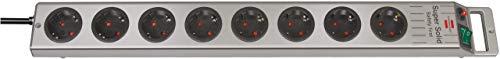 Brennenstuhl Super-Solid, Steckdosenleiste 8-fach (2,5m Kabel und Schalter - aus bruchfestem Polycarbonat) schwarz/silber