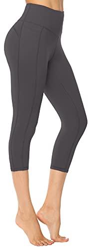 Persit Leggings de deporte para mujer, con bolsillos, opacos, pantalones de deporte, yoga, ropa callejera Gris 3/4. 36