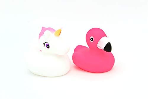 greetoy Quietscheente Flamingo Einhorn 6,5cm 2er Set Badeente Rubber Duck Wasserspielzeug Gummiente
