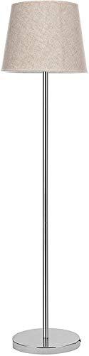 Piantana Da Salotto Lampada Da Terra Con Base Tonda E Stelo In Alluminio, Paralume In Raso, Design Moderno ed Elegante Soggiorno Ingresso Studio 152 x 25 x 25 cm Colore Argento