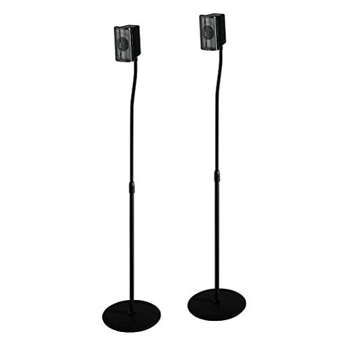 HAMA, Soporte para Altavoz, Guía de Organización para Cables de 5 mm, Negro, Tubo Telescópico 75.8, 120 cm, Placas de Soporte de 3 Formatos: 6.5 x 6.5 / 8 x 8 / 11,5 x 11,5 cm, Base Antideslizante