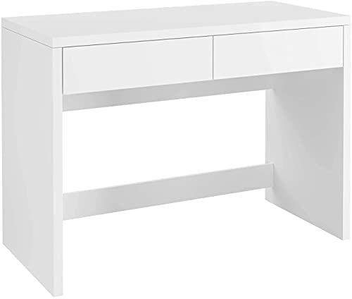 Mesa Escritorio Escritorio Ordenador Mesa Despacho con 2 Cajones para Oficina Dormitorio Estudio Blanco 108x50x77cm
