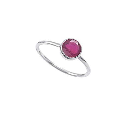 Anillo de plata de ley 925|De piedras preciosas Redondo Facetadas de rubí natural de calidad AAA para mujer|Anillo de rubí, anillo de compromiso, anillo astrológico|Talla de anillo 9.5 (D11)