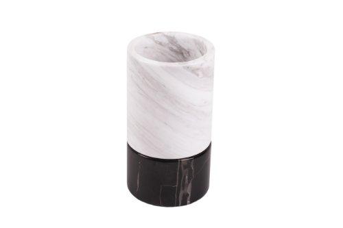 Yuchengstone Vase en marbre naturel en marbre au design moderne, 2 pièces, bel accessoire de maison, pierre naturelle, décoration (grand : Ø14 cm x 30 cm, blanc/noir)