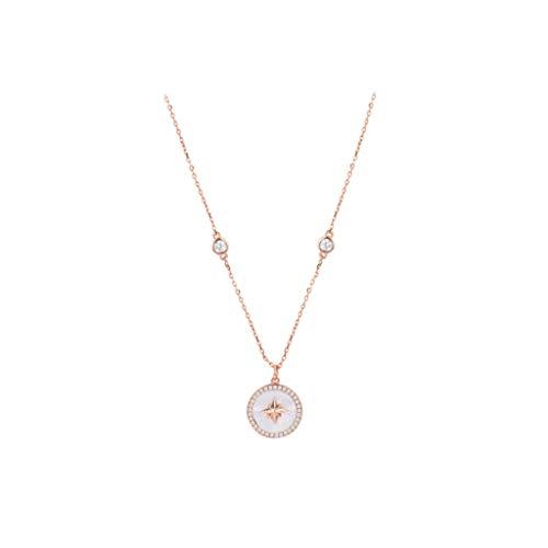 MASHUANG Moda Collar de astrolabio para Mujeres, Colgante de Plata esterlina 925 de Oro 925, Chicas de mamá, 45,5 cm / 17.9' Uso Diario