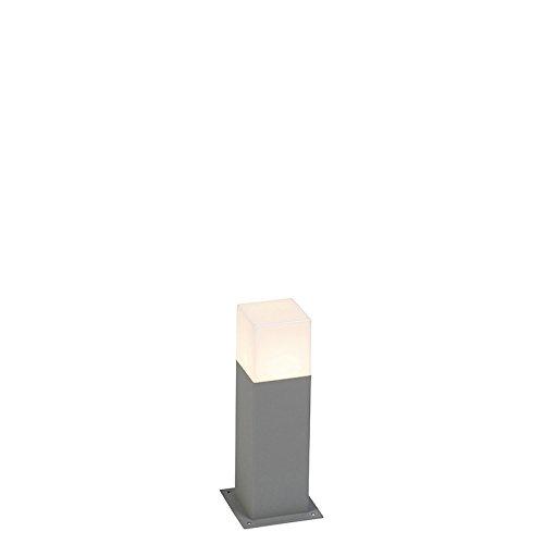QAZQA - Moderne AußenStehleuchte | Stehlampe | Standleuchte | Lampe | Leuchte 30 cm grau IP44 - Dänemark | Außenbeleuchtung - Aluminium Rechteckig - LED geeignet E27