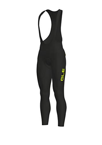 Alé Cycling Solid Winter Bib Tights Heren Black-Yellow Fluo Maat L 2019 broek
