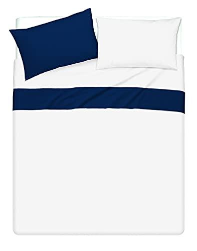Juego de sábanas bicolor con fundas de almohada de doble cara, 100% algodón, fabricado en Italia, para cama de matrimonio, color blanco/azul noche