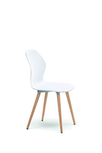 Sedus se:spot Vierfußstuhl, Designstuhl, Wohnzimmerstuhl, weiß, Holz/Eiche Natur, Kunststoff, 855 mm