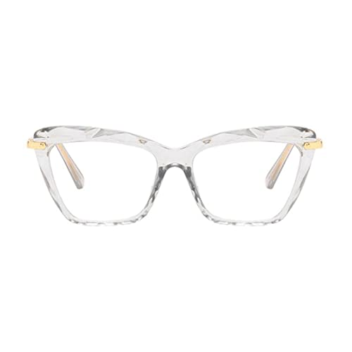DDyna Gafas Planas con Montura de Mariposa de Moda Gafas Retro para Mujer Gafas Planas con Montura metálica para Mujer
