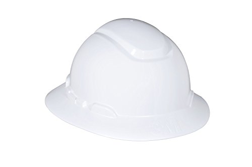 3M Full Brim Hard Hat H-801R, White 4-Point Ratchet Suspension