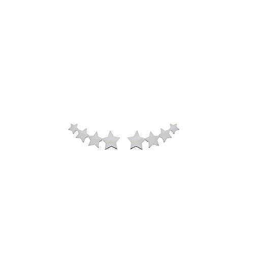 Pendientes de plata 925/000rodiada, fila de estrellas,para el contorno de la oreja