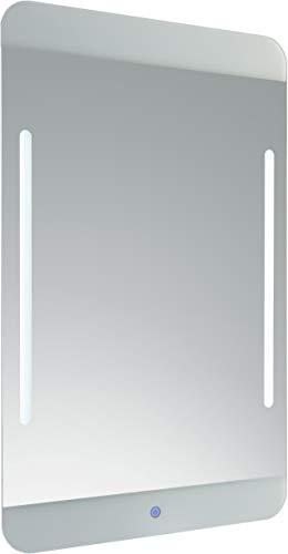 FACKELMANN LED Spiegel MALUA/Wandspiegel mit LED-Beleuchtung und Sensorschalter/Maße (B x H x T): ca. 55 x 90 x 3 cm/Lichtfarbe: Tageslichtweiß/Leistung: 2 x 2,9 Watt/austauschbare LEDs