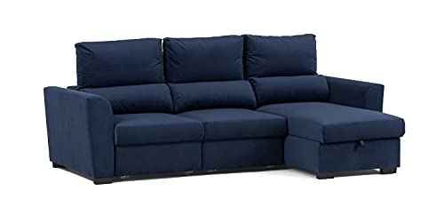 Confort24 Oliver Sofa Cama de Salon Chaise Longue 3 Plazas con Arcón Derecho o Izquierdo con Reposacabezas Ajustable (Azul)