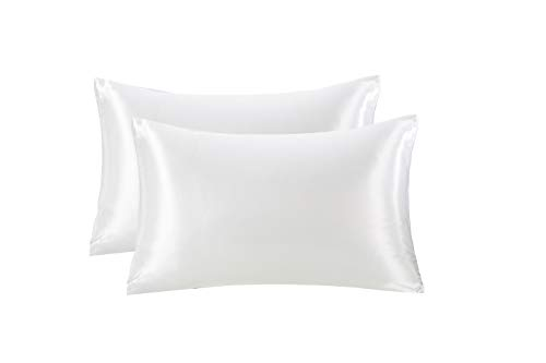 """Zuomy Slip King Pillowcase for Hair and Skin with Envelope Closure, Anti-Wrinkle and Anti-Acne Satin Pillow Cover 20""""x 40"""" White"""