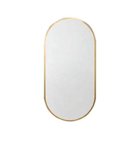 YYHSND Espejo del baño Espejo Redondo Marco de Metal Dorado Colgante de Pared Moderno Espejo Decorativo Espejo de vanidad y Espejo de Afeitar Espejo de Pared (Size : 50×80cm)
