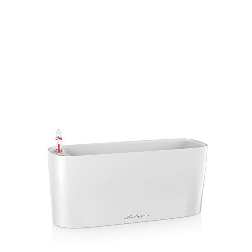 LECHUZA DELTA 10 Self Watering Planter Small Flower Plant Pot Indoor Table Planter without Drainage Hole with Plant Substrate Poly Resin H13 L30 W11 cm White High-Gloss