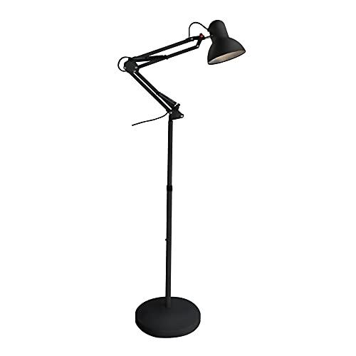 Wonderlamp - Lámpara de pie articulada Avati, Lámpara Pie Negro, Altura regulable, Cuerpo y cabezal articulable, Bombilla 1xE27