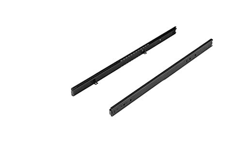 FIX&EASY Guías telescópicas para cajones y bandeja con freno, corredera extraible deslizable negro 400mm con bloqueo, rodamiento de bolas rieles 27mm para estante, teclado, ratón y laptop cajón ⭐