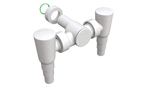BONOMINI - Siphon mit Doppelanschluss - Trockner und Waschmaschine zugleich oder Geschirrspüler - mit Anti-Rücklaufventil und Anti-Geruch - Weiß