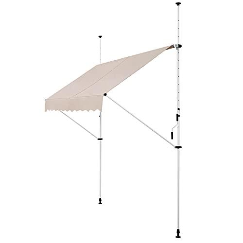 ArtLife Klemmmarkise Kuwait 250 x 120 cm – höhenverstellbar - Markise mit Handkurbel - ohne Bohren - Balkonmarkise Sonnenschutz Balkon - Beige