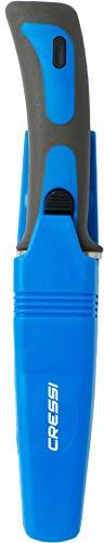 Cressi XRC565052 Cuchillo de Buceo, Unisex Adulto, Azul/Gris/Hoja Plata, 23.5 cm
