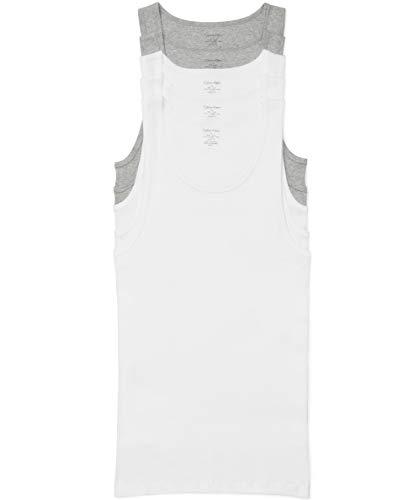 Calvin Klein Men's Cotton Classics Multipack Tanks, 3 White/2 Grey Heather, M